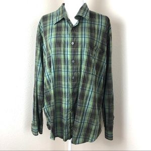 Alan fluster green plaid shirt sz xxl